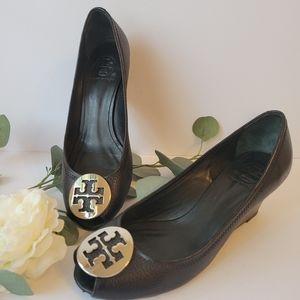 Tory Burch black peek toe wedge shoes